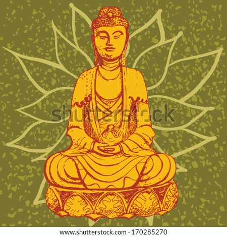 Illustration seated buddha lotus flower stock vector royalty free illustration seated buddha in the lotus flower mightylinksfo