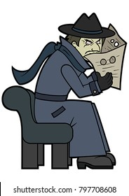 Illustration a secret spy detective in a classic disguise coat, 
