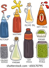 Illustration of a Selection of Condiments like Ketchup, Mustard, Olive Oil, Hot Sauce, Pepper, Vinegar, Soy Sauce, Wasabi and Sliced Pickle
