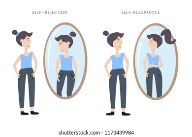 Illustration of self rejection and self acceptance. Young woman watching at her reflection in the mirror with different emotions