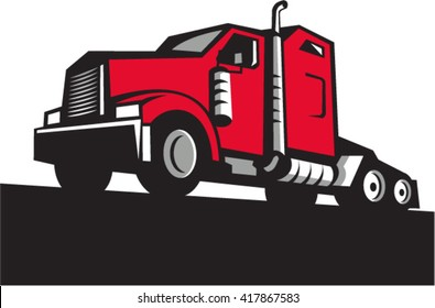 Illustration of a semi truck tractor set on isolated white background viewed from low angle done in retro style.