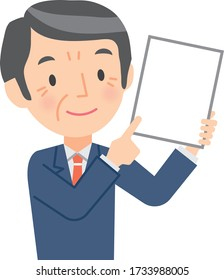Illustration of a senior businessman with documents
