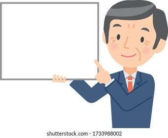 Illustration of a senior businessman explaining with a whiteboard