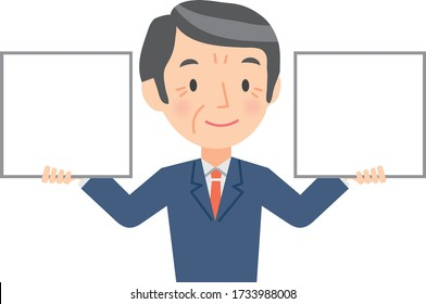 Illustration of a senior businessman holding a whiteboard in his hands