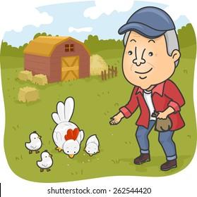 Illustration of a Senior Citizen Feeding Chickens in a Farm