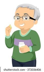 Illustration of a Senior Citizen Taking His Daily Pills