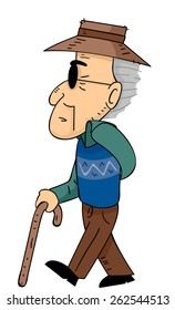 Illustration of a Senior Citizen Walking with the Help of a Cane