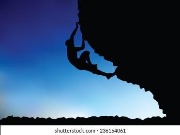 illustration of senior climber man silhouette  - in climbing pose