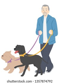 Illustration of a Senior Man Holding Leash and Walking Two Dogs