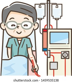 Illustration of a senior man undergoing peritoneal dialysis