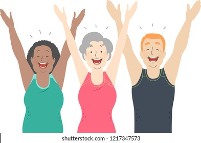 Illustration of Senior Man and Woman with Hands Up and Happy During a Yoga Pose