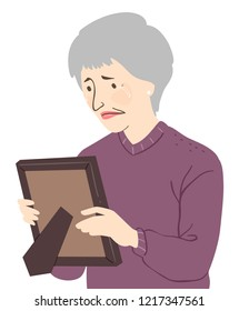 Illustration of a Senior Woman Crying and Holding a Picture Frame of a Deceased Loved One