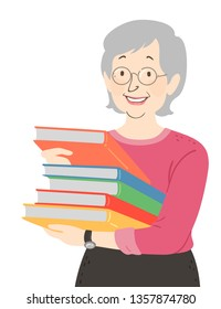 Illustration of a Senior Woman Librarian Carrying a Stack of Books