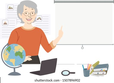 Illustration of a Senior Woman Teaching Geography with Globe, Laptop, Books and Projection Screen