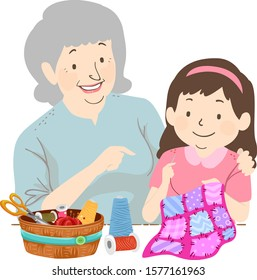 Illustration of a Senior Woman Teaching a Kid Girl Quilting, a Basket of Sewing Notions on the Table