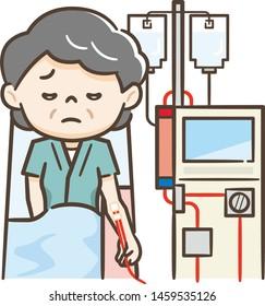 Illustration of a senior woman undergoing hemodialysis