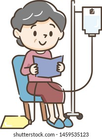 Illustration of a senior woman undergoing peritoneal dialysis