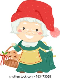 Illustration of a Senior Woman Wearing Mrs Santa Claus Costume Holding a Basket Full of Saffron Buns