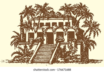 Illustration of a series of vector drawings for the Seven Wonders of the Ancient World. Hanging Gardens of Babylon