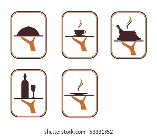 The illustration of the serving food and drink over the white background