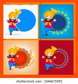 illustration set of 4 of Happy Vaisakhi / Baisakhi Punjabi festival celebration background with Punjabi celebration elements and stylish text of Happy Vaisakhi