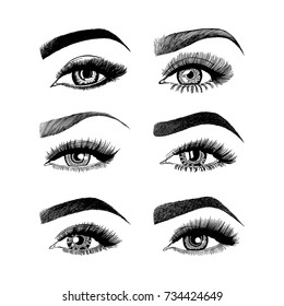 Illustration with set of 6 woman's eyes. Makeup Look. Tattoo design.