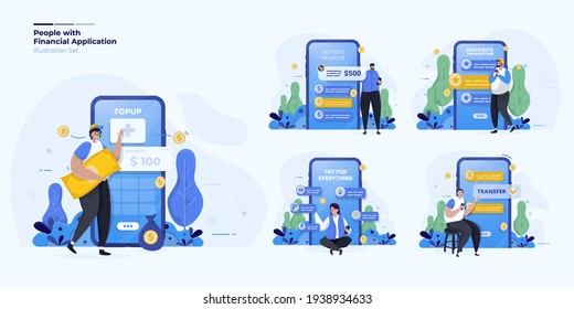 Illustration set about people with digital finance mobile application concept
