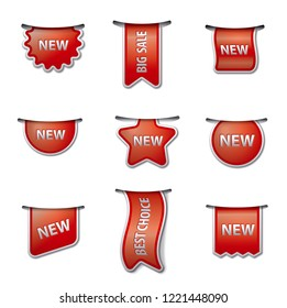 illustration of set advertising labels and tags for sale