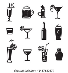 illustration of set alcohol drinks and cocktails for bar