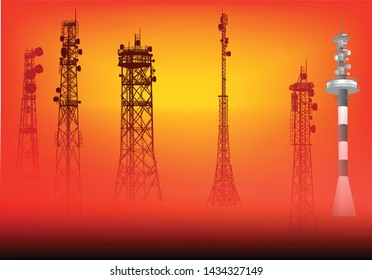 illustration with set of antenna silhouettes on red background