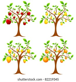 illustration of set of apple,mango,pear and orange tree