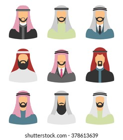 Illustration Set Arabic Men, Heads with Beards, Portraits, Traditional and Popular Clothing in Arab Countries, Flat Icons - Vector
