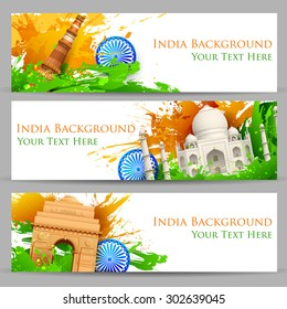 illustration of set of banner for colorful India with monument