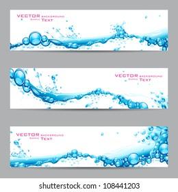 illustration of set of banner with water splash
