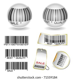 Illustration of a set of bar codes and labels on a white background. Vector.