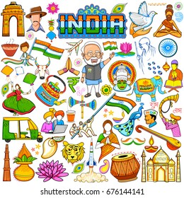 illustration of set of beautiful Indian design element for Happy Independence Day or Republic Day of India decoration