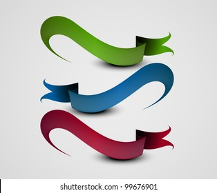 Illustration of a set of beautiful ribbon on a roll. Vector.