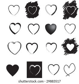 Illustration of  a set of black heart icons