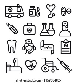 illustration set of black outlines medicine icons