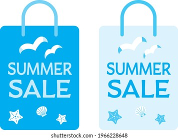 Illustration set of the blue paper bag of the summer sale