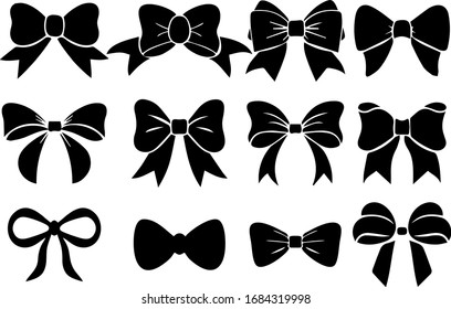 Illustration set of bow tie, Bows set isolated on background, Vector illustration Eps, Epş fıle, bow tie eps