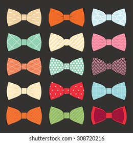 illustration set of bow tie in vector on white background