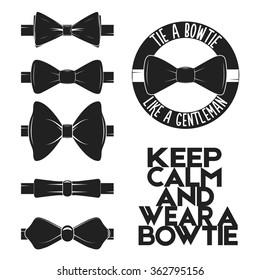 Illustration set of bow tie in vector on white background. Bow-tie logo, label, icon for projects, cards, invitations. Gentleman illustration with bowtie quote.