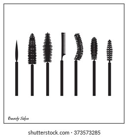 Illustration of a set of brushes mascara, flat icons