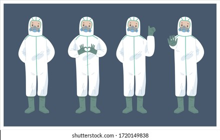 illustration set bundle of medical workers in PPE suit to fight against corona virus or COVID-19. to taking care of people in pandemic situation. medical workers in different position.