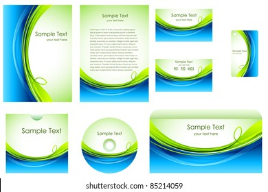 illustration of set of business template on white background