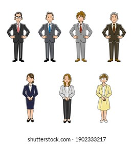 Illustration set of businessmen and businesswomen