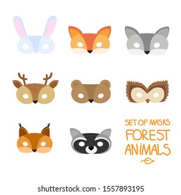 illustration set of cartoon animal forest carnival masks: bear, fox, hare, wolf, owl, squirrel, deer, raccoon. mask on the eyes of a masquerade. vector
