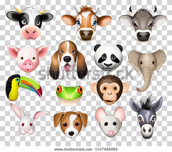 Illustration set of cartoon animals with cow, pig, basset dog, panda, elephant, toucan, frog, donkey, rabbit, mouse and donkey
