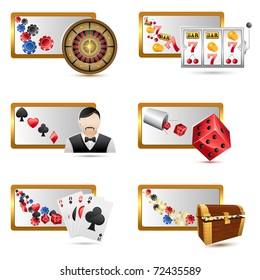illustration of set of casino icons on isolated white background